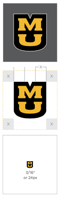 Three versions of the MU logo. One showing a white outline, one illustrating the clear space around it and one more that shows the minimum size.