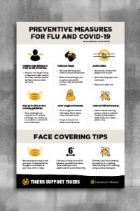Warm gray header with black text 'Preventative Measures for Flu and COVID-19'. Below that are icons with CDC recommendations. A second warm gray header with text 'Face Covering Tips' with three icons and text. The footer is a black page tear with a gold heart and white text 'Tigers Helping Tigers' and then white outlined shield with gold 'MU' and white 'University of Missouri' text.