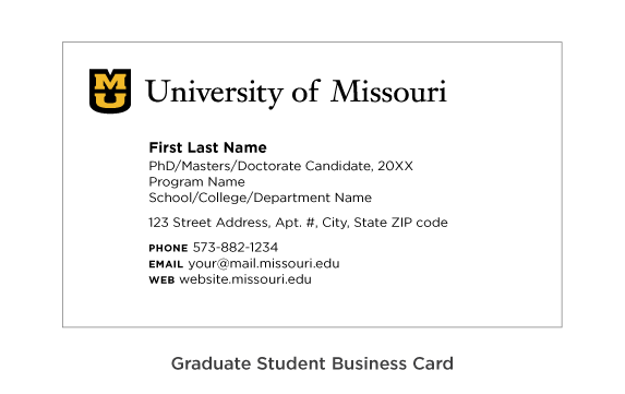 Example of the setup for graduate student business cards.
