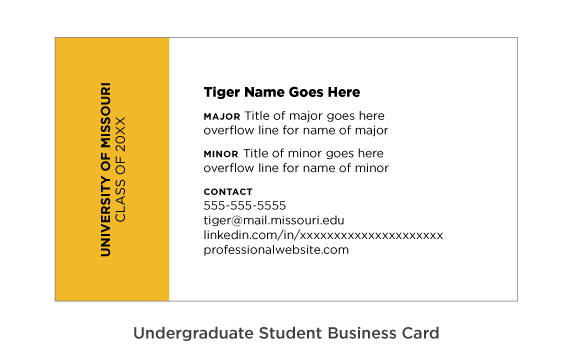Example of the setup for undergraduate student business cards.