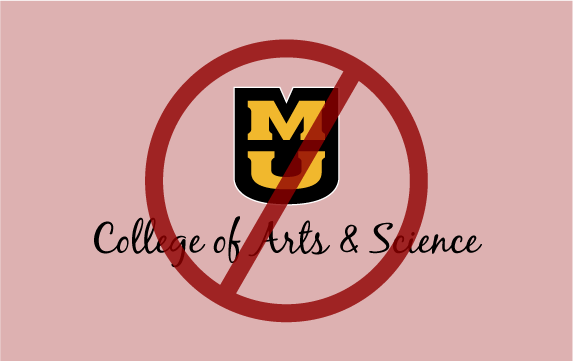 Light red background with a fake University of Missouri signature with a red circle with a slash through it.