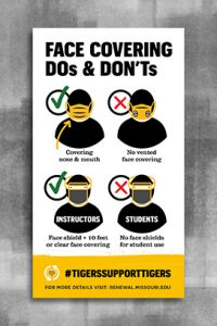 "Graphic with bold text ""Face Covering Dos and Dont's"" and gold footer with a heart and text ""Tigers Support Tigers"""
