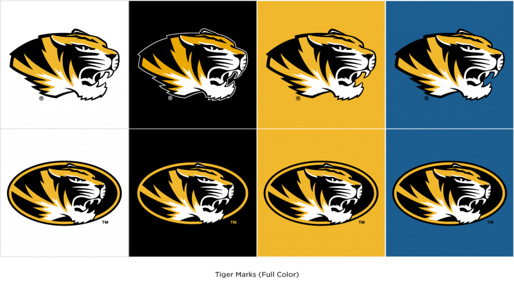 Full color variations of the spirit tiger head and athletic tiger head on different color backgrounds.