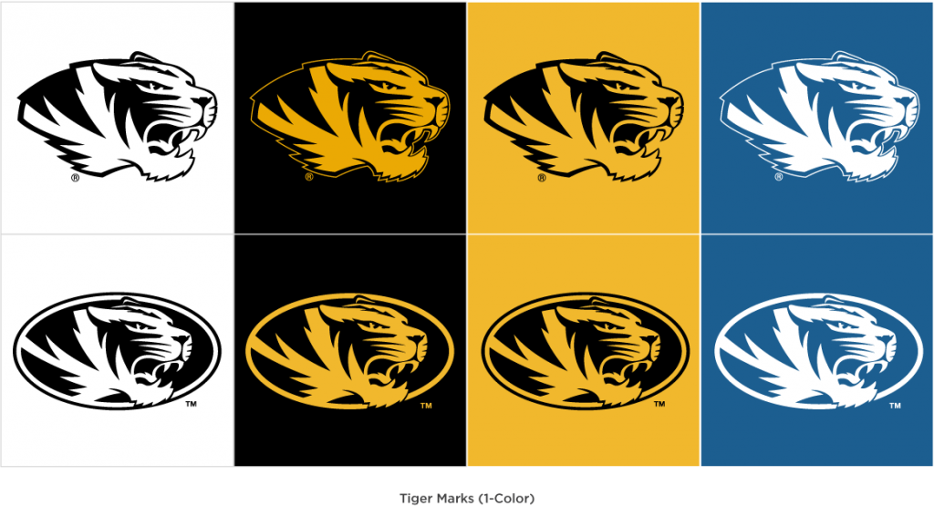 One color spirit tiger head and athletic tiger head marks on different color backgrounds.