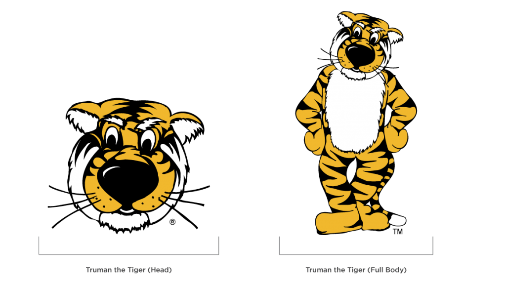 Truman the Tiger mascot illustration showing both head and full body versions.