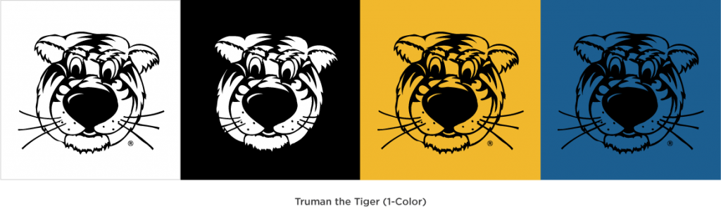 Truman the Tiger head illustrations showing one color variations on different background colors.