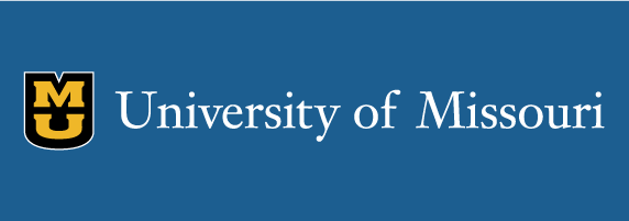 University of Missouri signature on blue background with black shield with white outline and gold stacked