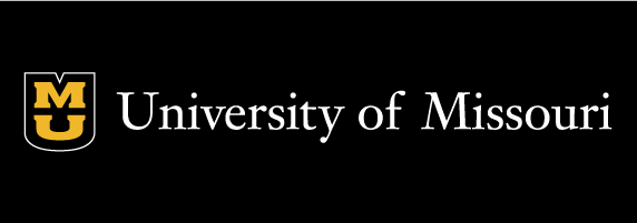 University of Missouri signature on black background with black shield with white outline and gold stacked