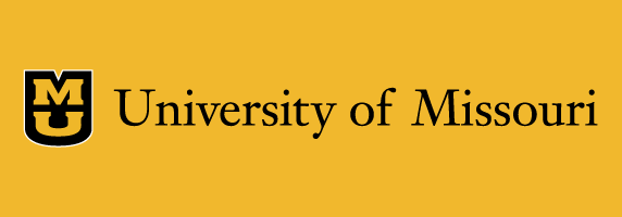 University of Missouri signature on gold background with black shield with white outline and gold stacked