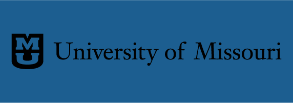 University of Missouri signature on blue background with black shield and blue stacked
