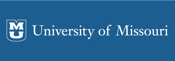 University of Missouri signature on blue background with blue shield with white outline and white stacked