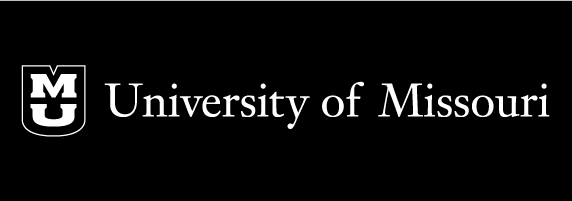University of Missouri signature on black background with black shield with white outline and white stacked