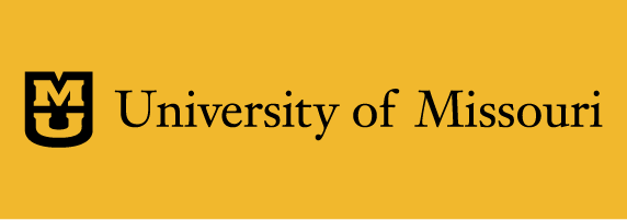 University of Missouri signature on gold background with black shield and gold stacked