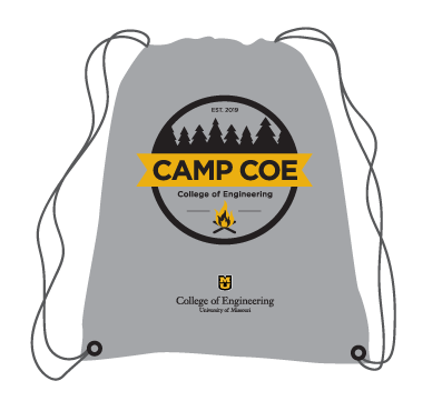 Promotional item example of a branded graphic being used with a unit signature on a drawstring bag.