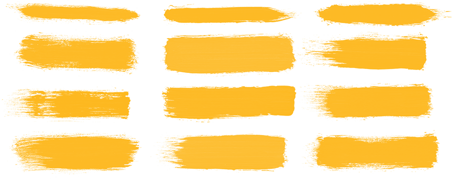 Twelve different versions of the Mizzou brand paint strokes, shown in gold.