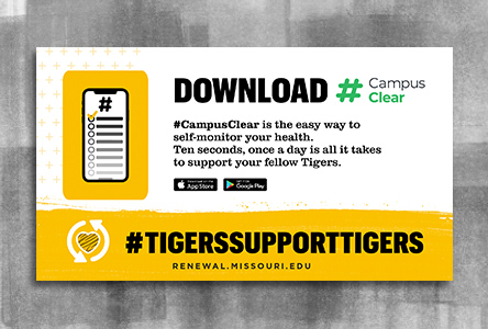 "Graphic with bold text ""Download #Campus Clear"" and gold footer with a heart and text ""Tigers Support Tigers"""