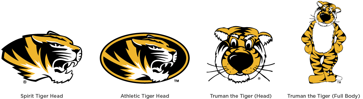 Graphic showing marks allowed for campus department promotional items: Spirit tiger head, athletic tiger head, Truman the Tiger