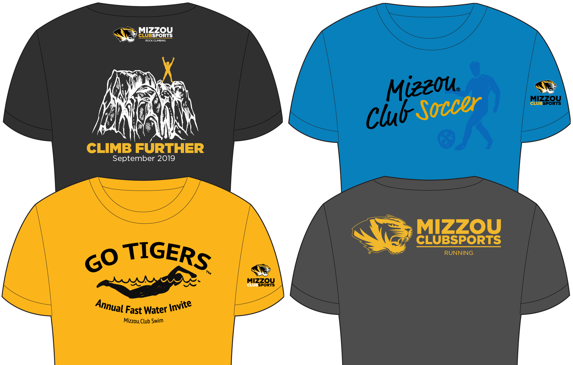 Examples of Mizzou Club Sports t-shirt designs that meet guidelines.