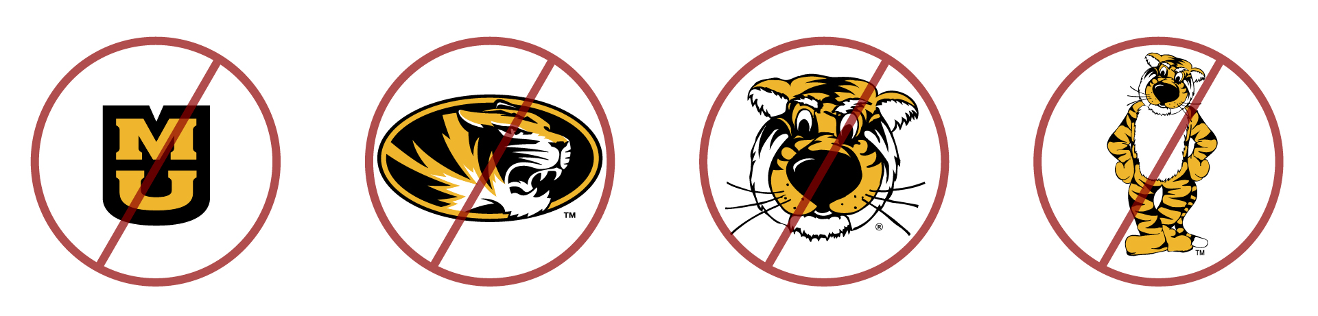 Mizzou trademarks that Mizzou Club Sports are not allowed to use: Stacked MU, Athletic Tiger Head, Truman the Tiger