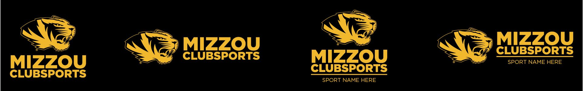 Graphic of the approved Mizzou Club Sports logos in one color.