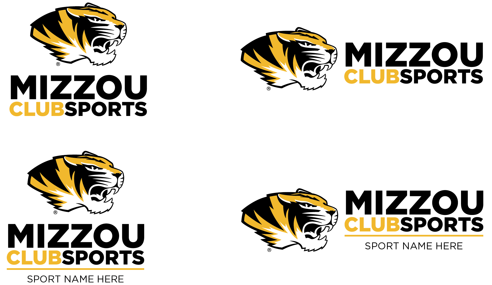 Graphic of the approved Mizzou Club Sports logos in full color.