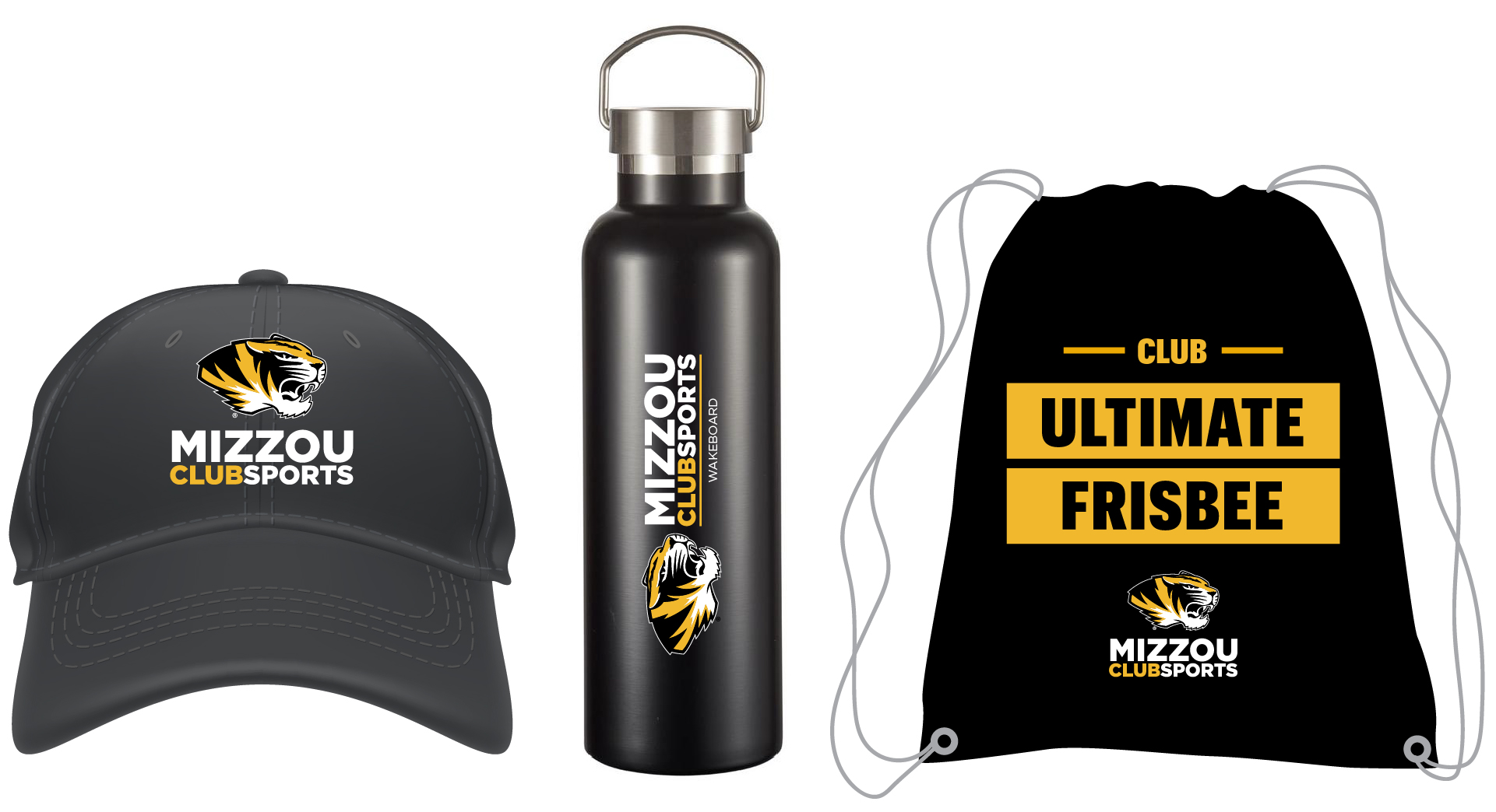 Examples of Mizzou Club Sports products such as hats, water bottles and bags that meet university guidelines.