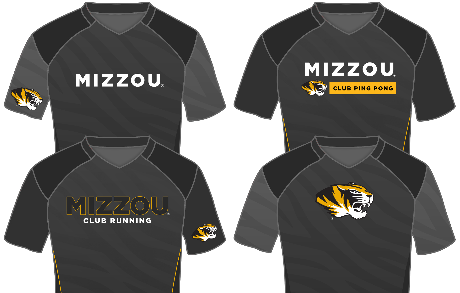 Examples of Mizzou Club Sports uniforms that meet university guidelines.