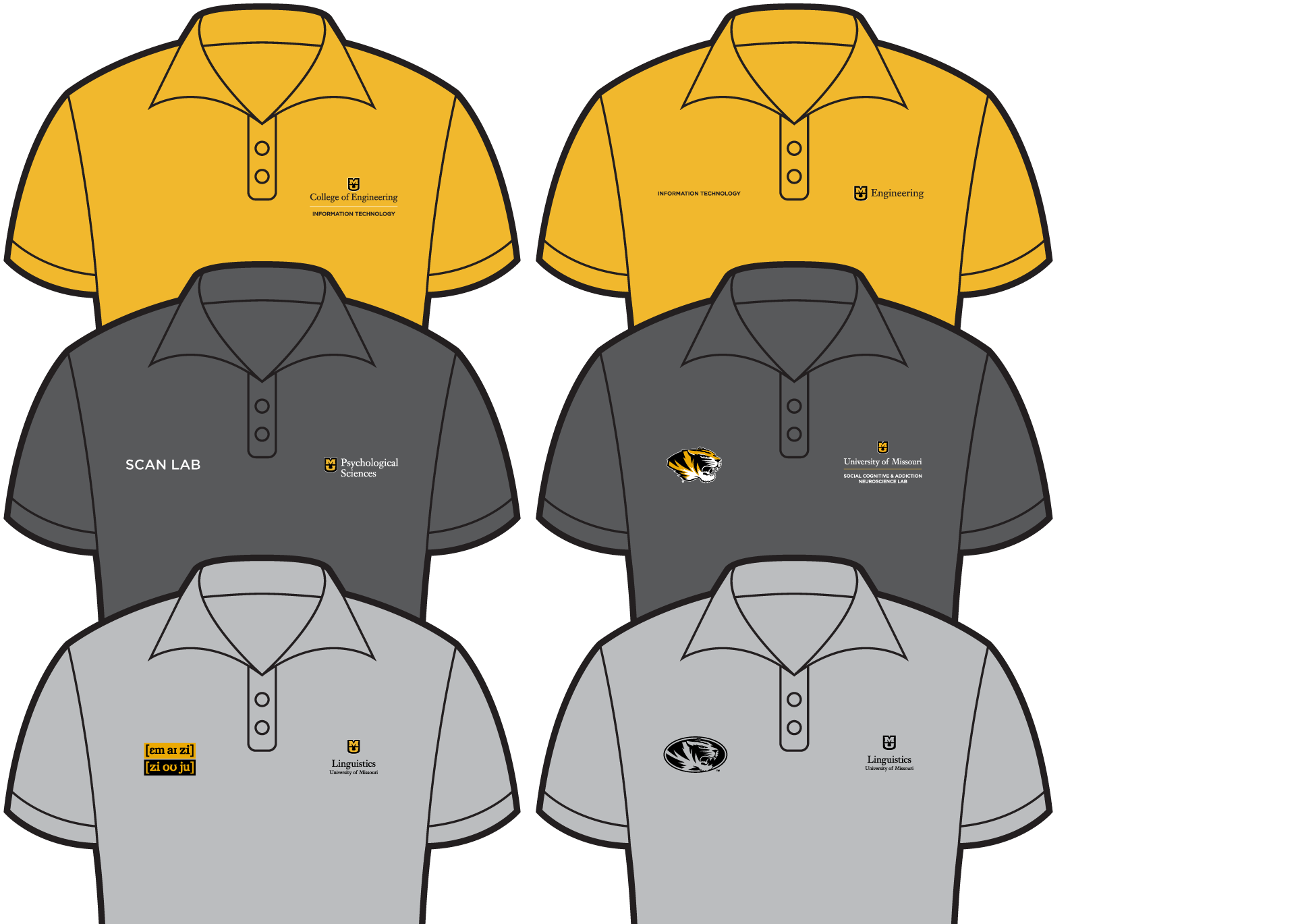 Examples of polos that meet university campus department guidelines.