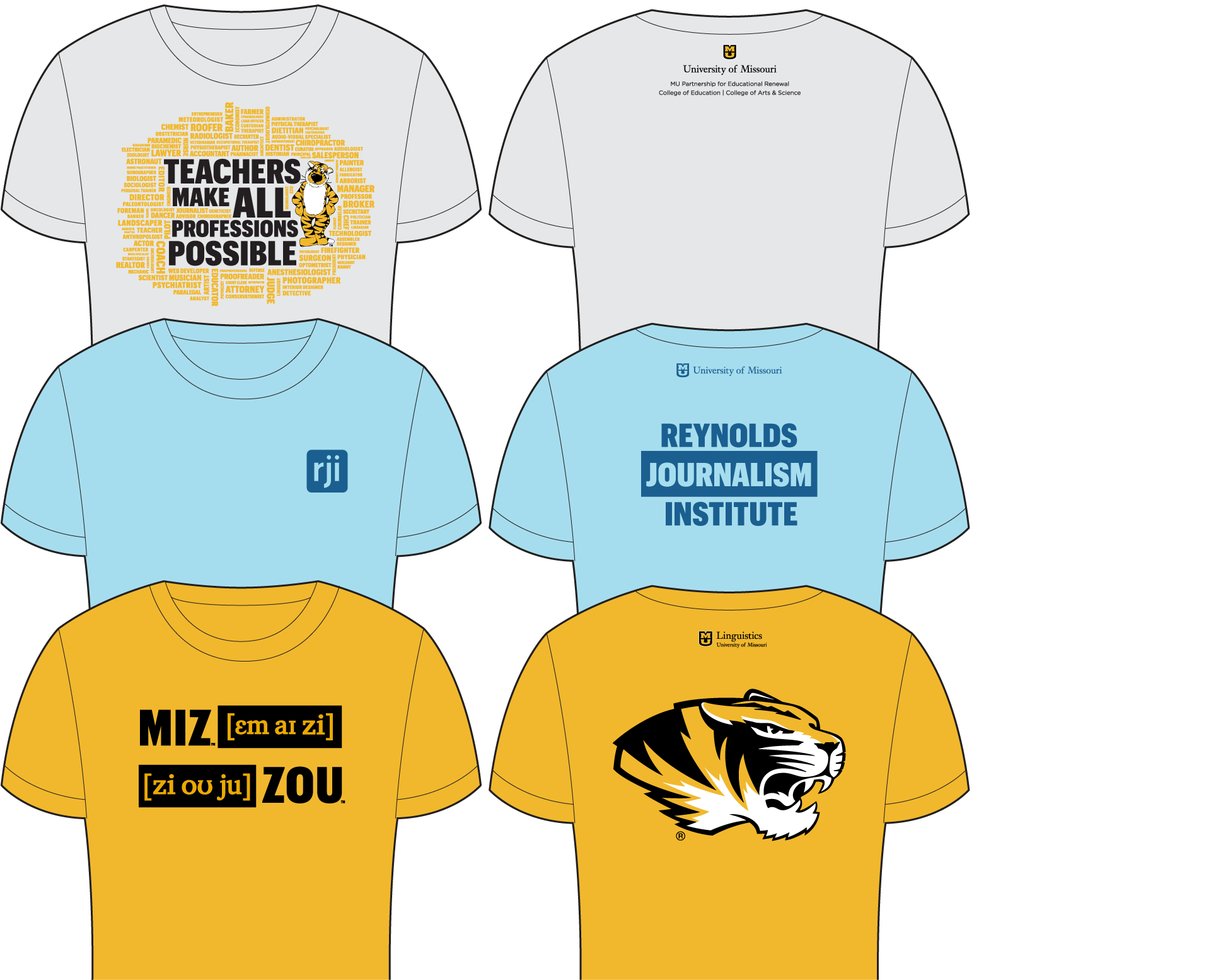 Examples of tshirts with 2-imprint areas that meet university campus department guidelines.