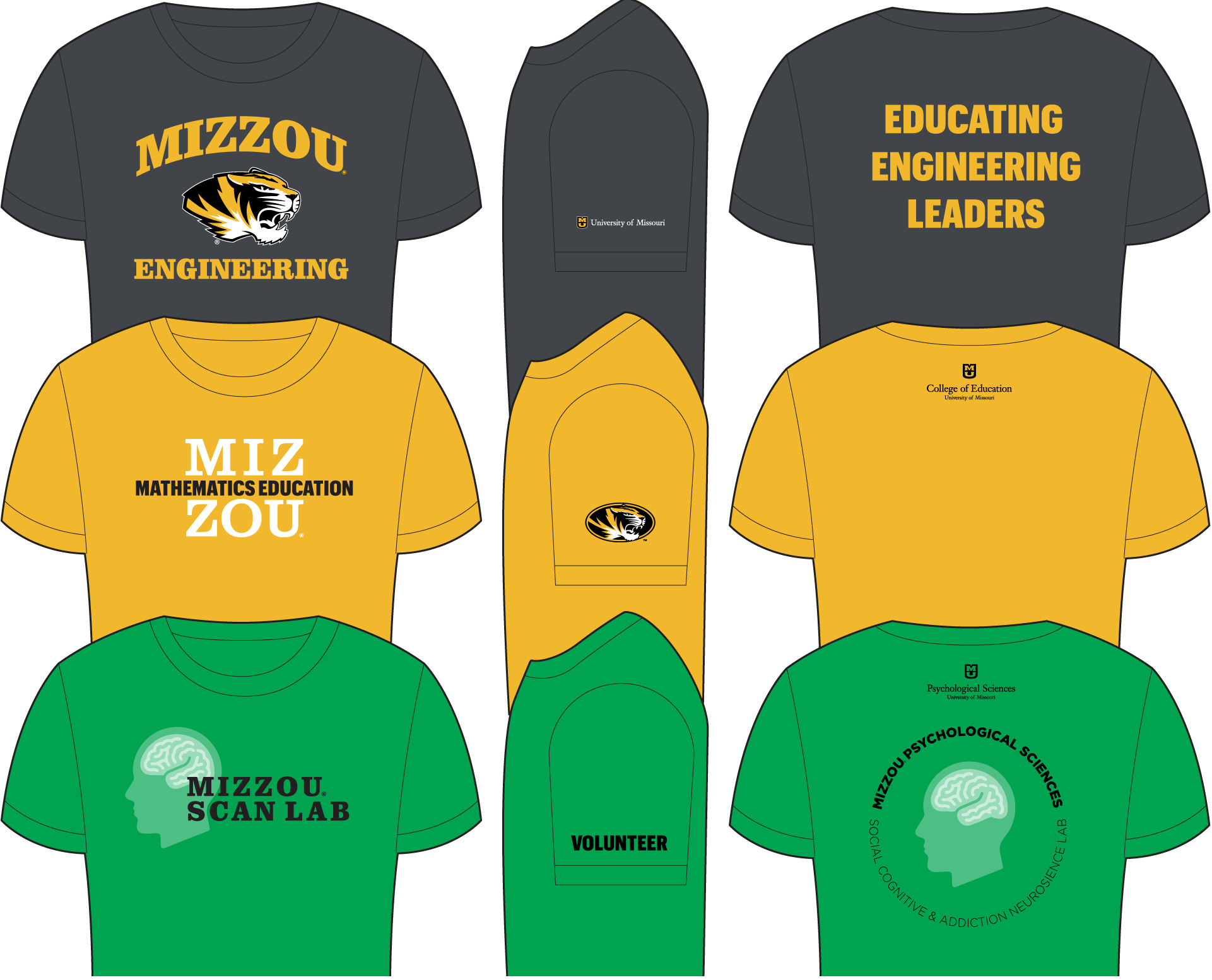 Examples of tshirts with 3-imprint locations that meet university campus department guidelines.