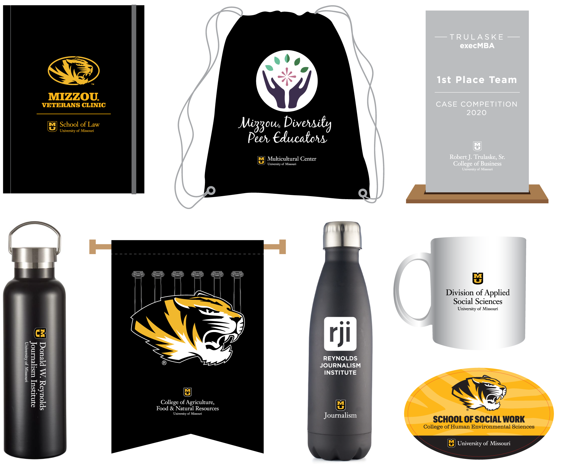 Examples of products that meet campus department guidelines including notebooks, padfolios, bags, awards, mugs, water bottles, pendants and stickers.