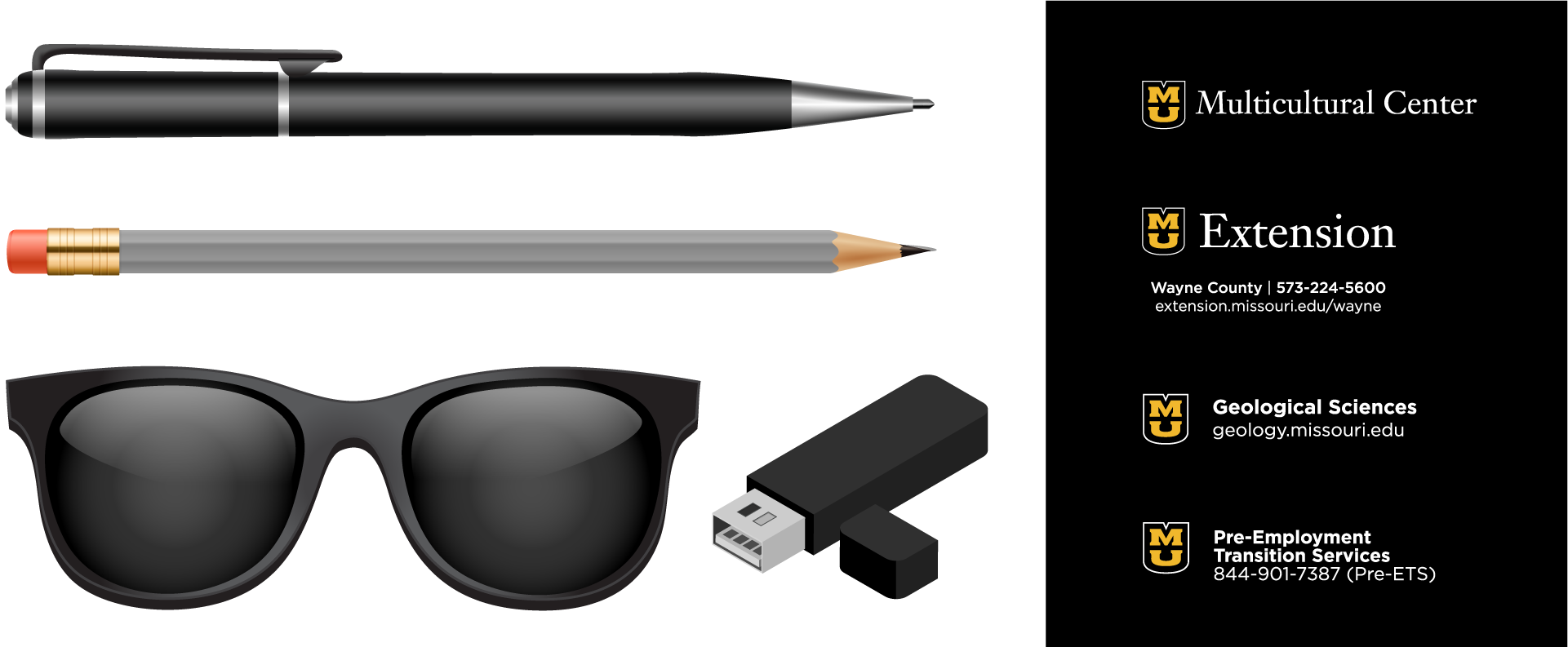 Graphic examples of small imprint items that meet campus department guidelines including pens, pencils, sunglasses and thumb drives.