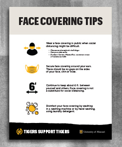 "Flyer with bold text ""Face Covering Tips"" followed by four graphics and CDC recommendations."