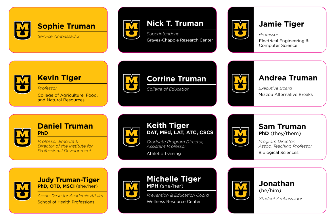 Graphic showing 12 examples of branded name badges for Mizzou staff, faculty and student employees.