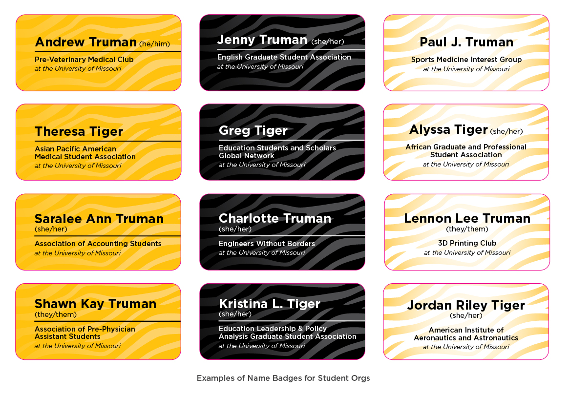 Graphic showing the 12 examples of the name badges Mizzou student organizations.