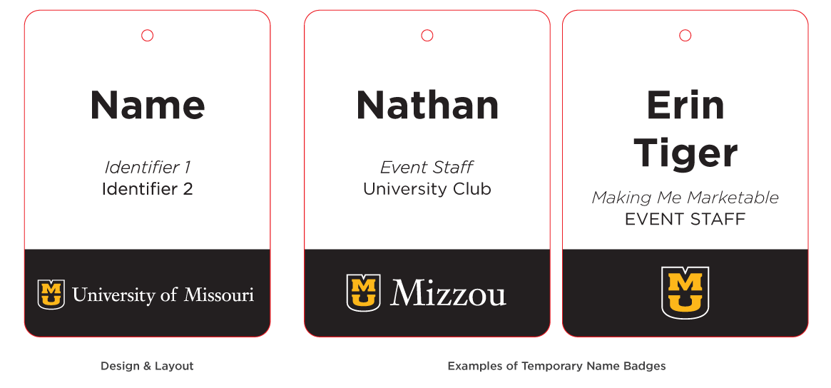 Graphic of the temporary vertical name badge for events, student workers and volunteers.