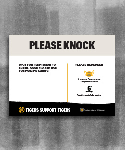 "Image of a customizable flyer with title ""Please Knock"" in block letters. Beneath is space for custom information on the left and prevention guidelines on the right."