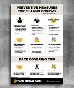Warm gray header with black text 'Preventative Measures for Flue and COVID-19'. Below that are icons with CDC recommendations. A second warm gray header with text 'Face Covering Tips' with three icons and text. The footer is a black page tear with a gold heart and white text 'Tigers Helping Tigers' and then white outlined shield with gold 'MU' and white 'University of Missouri' text.