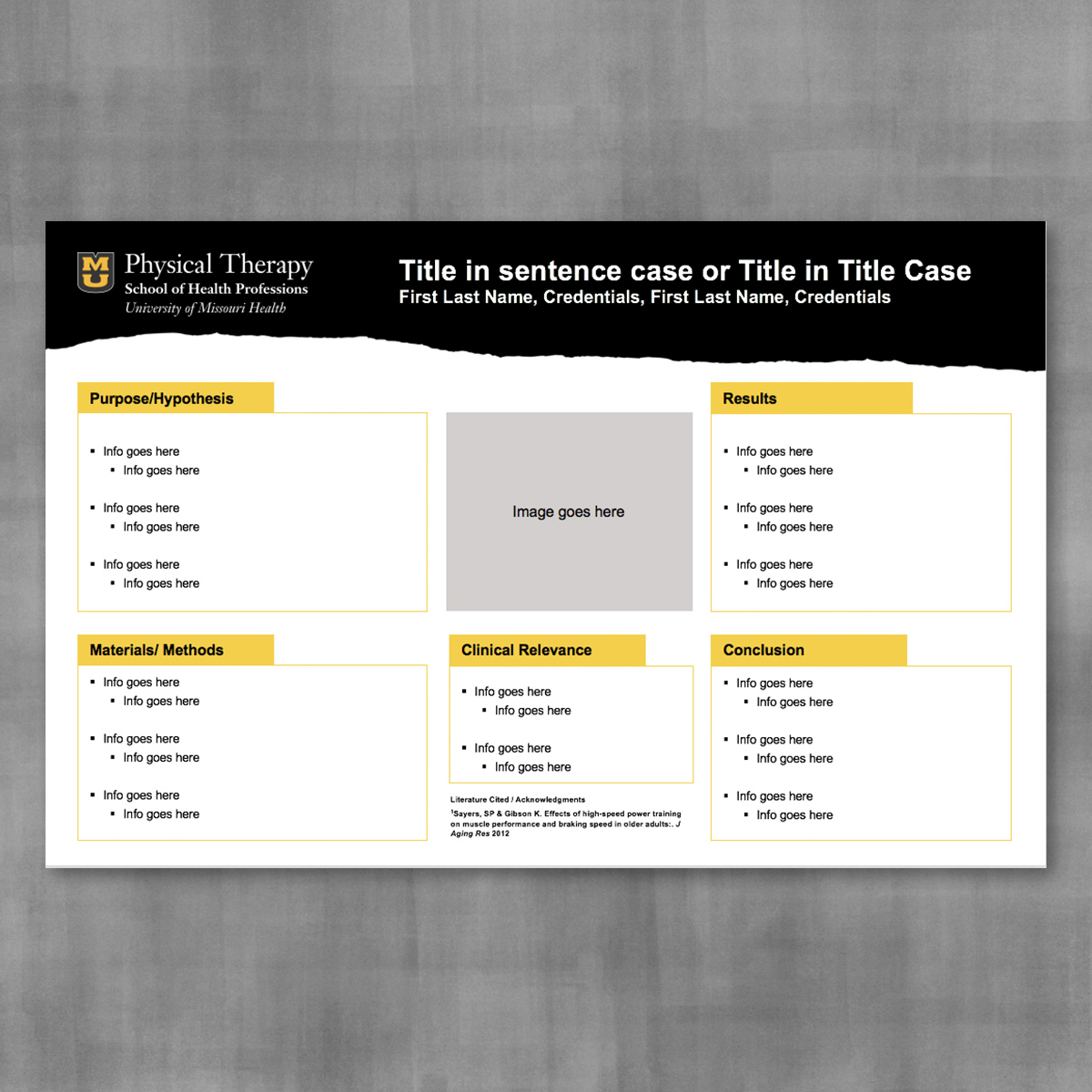 Research poster template with black page tear banner and white background.