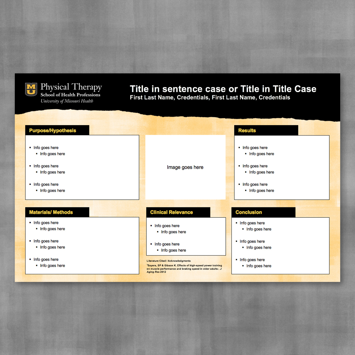 Research poster template with black page tear banner