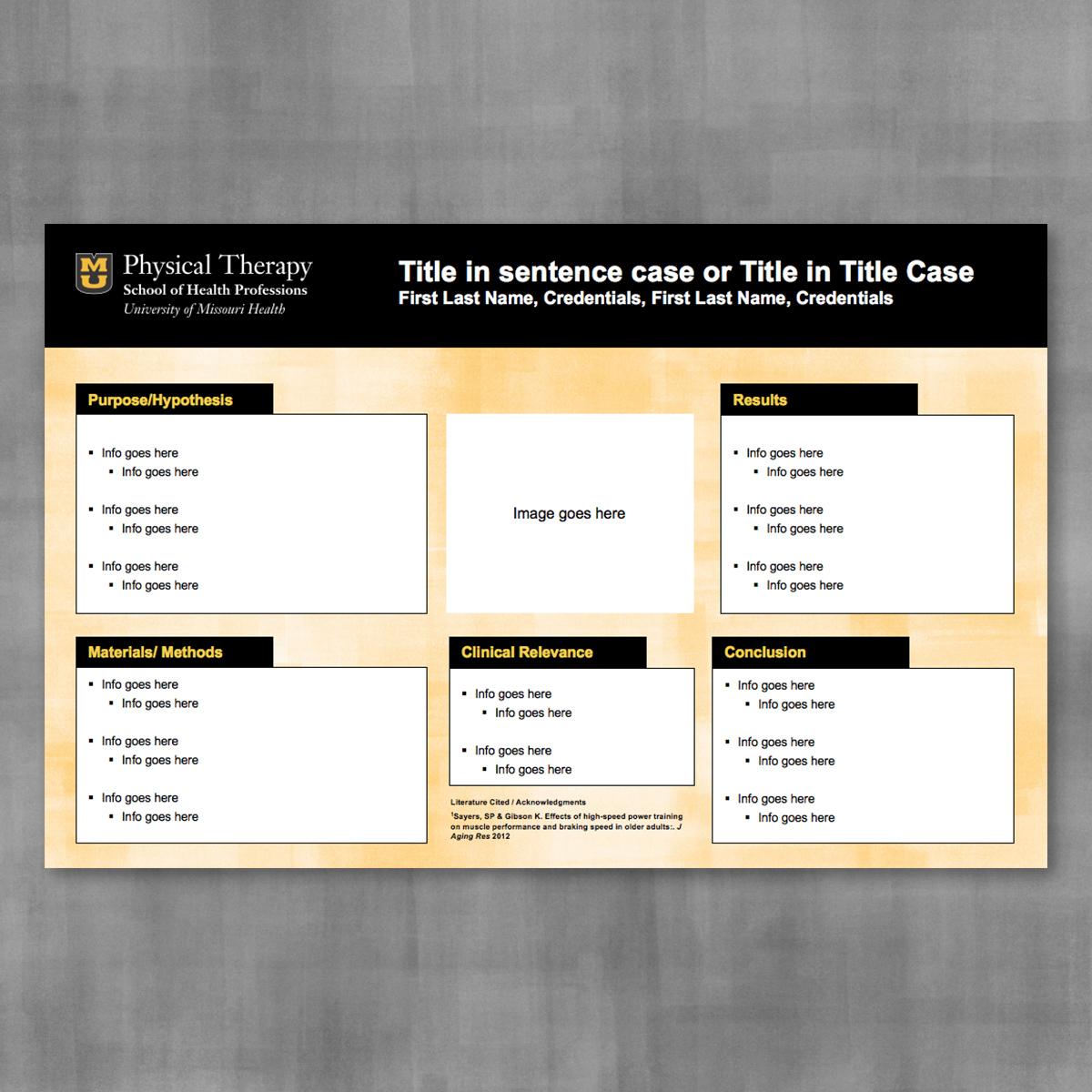 Research poster template with black banner