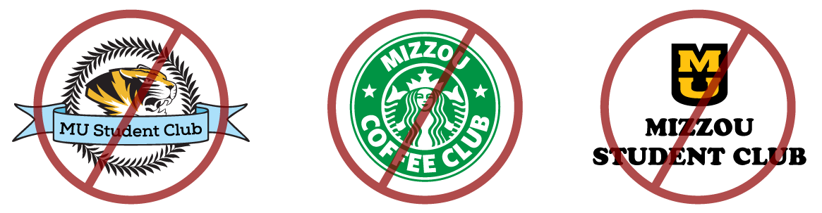 Examples of student organization logos that violate Mizzou's guidelines including incorporating Mizzou marks and infringing on other brand logos.