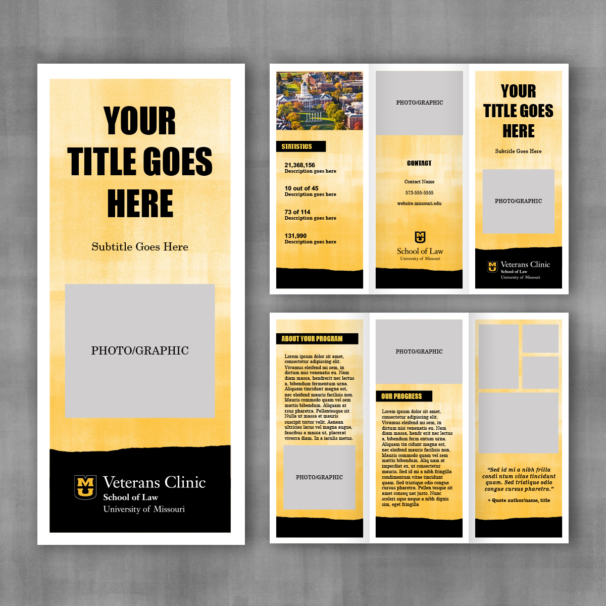 Trifold brochure template with gold brayer background and bold text.